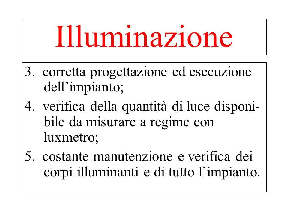 Illuminazione 3. corretta progettazione ed esecuzione dell'impianto;