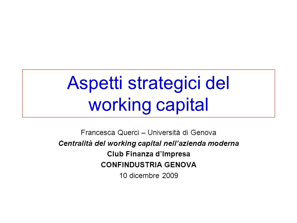 Aspetti strategici del working capital