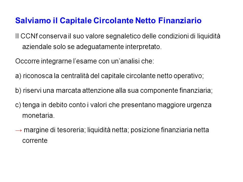 Salviamo il Capitale Circolante Netto Finanziario