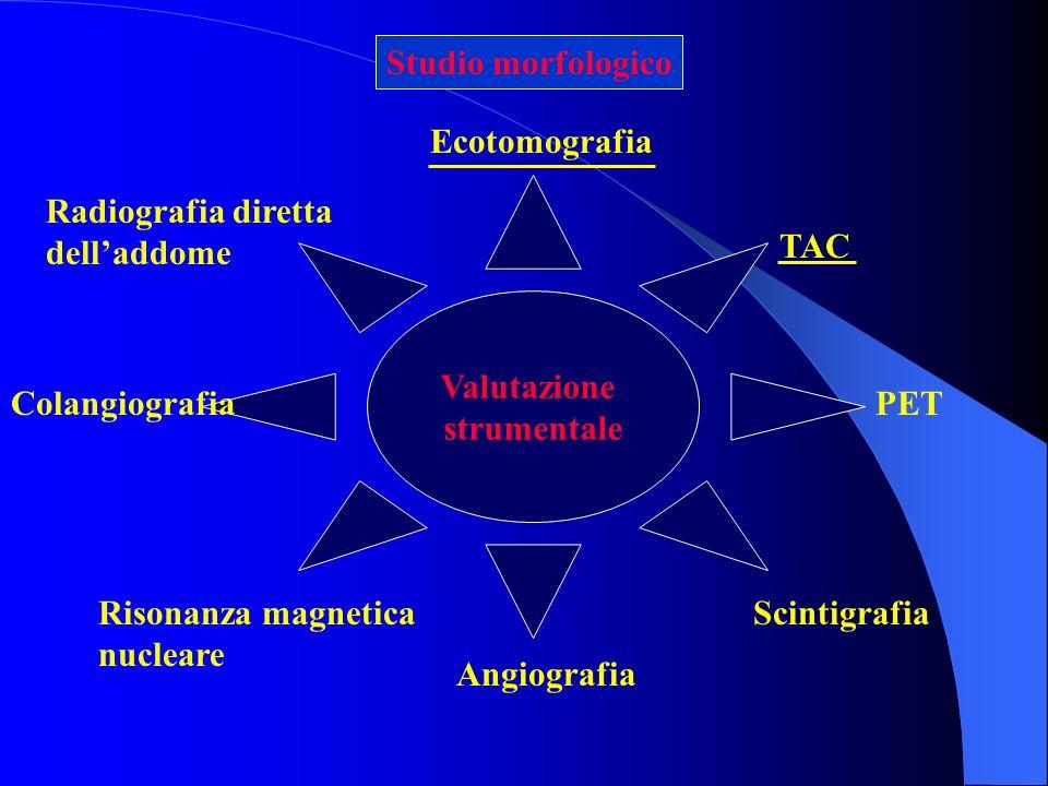 Studio morfologico Ecotomografia. Valutazione. strumentale. Radiografia diretta dell'addome. TAC.