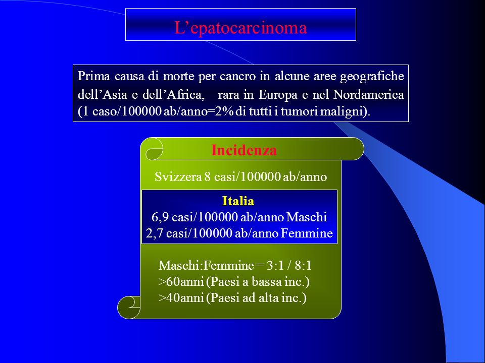 L'epatocarcinoma Incidenza