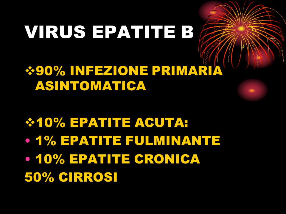 VIRUS EPATITE B 90% INFEZIONE PRIMARIA ASINTOMATICA 10% EPATITE ACUTA: