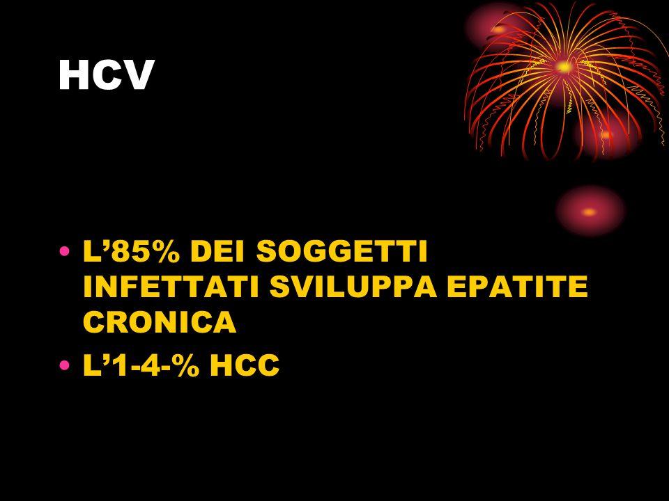 HCV L'85% DEI SOGGETTI INFETTATI SVILUPPA EPATITE CRONICA L'1-4-% HCC