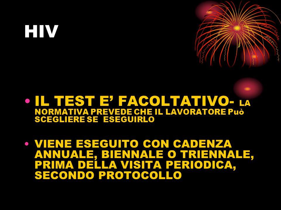 HIVIL TEST E' FACOLTATIVO- LA NORMATIVA PREVEDE CHE IL LAVORATORE Può SCEGLIERE SE ESEGUIRLO.