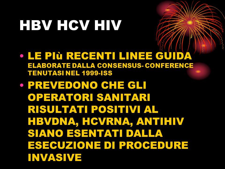 HBV HCV HIV LE PIù RECENTI LINEE GUIDA ELABORATE DALLA CONSENSUS- CONFERENCE TENUTASI NEL 1999-ISS.
