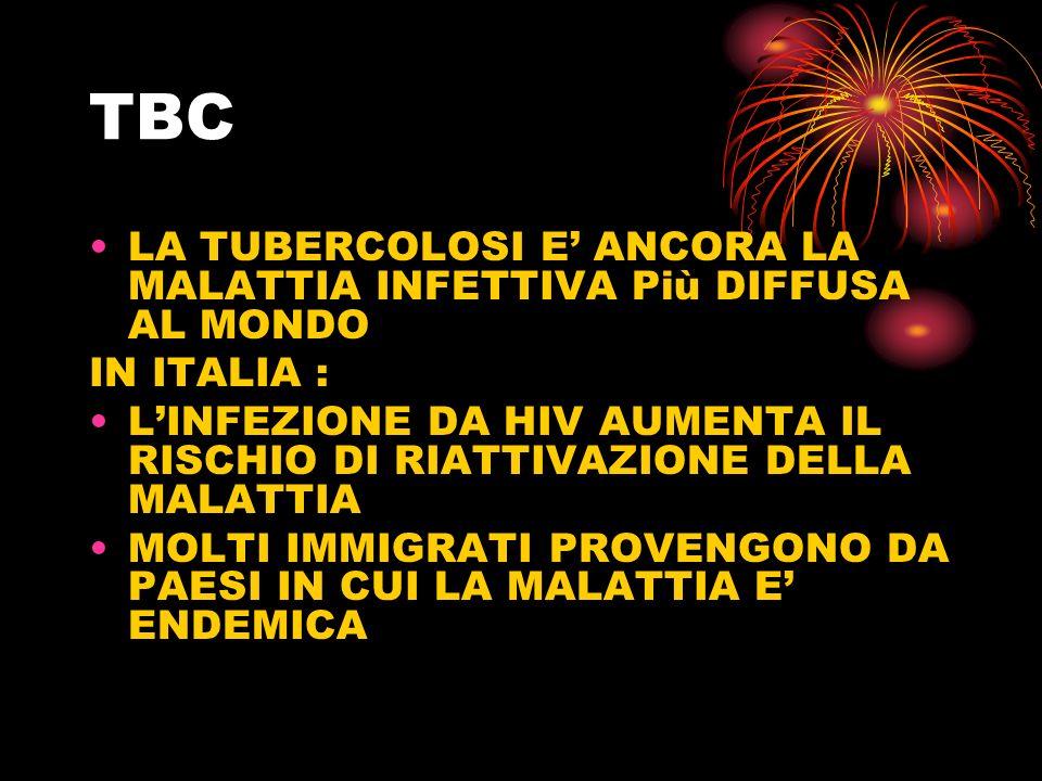 TBC LA TUBERCOLOSI E' ANCORA LA MALATTIA INFETTIVA Più DIFFUSA AL MONDO. IN ITALIA :