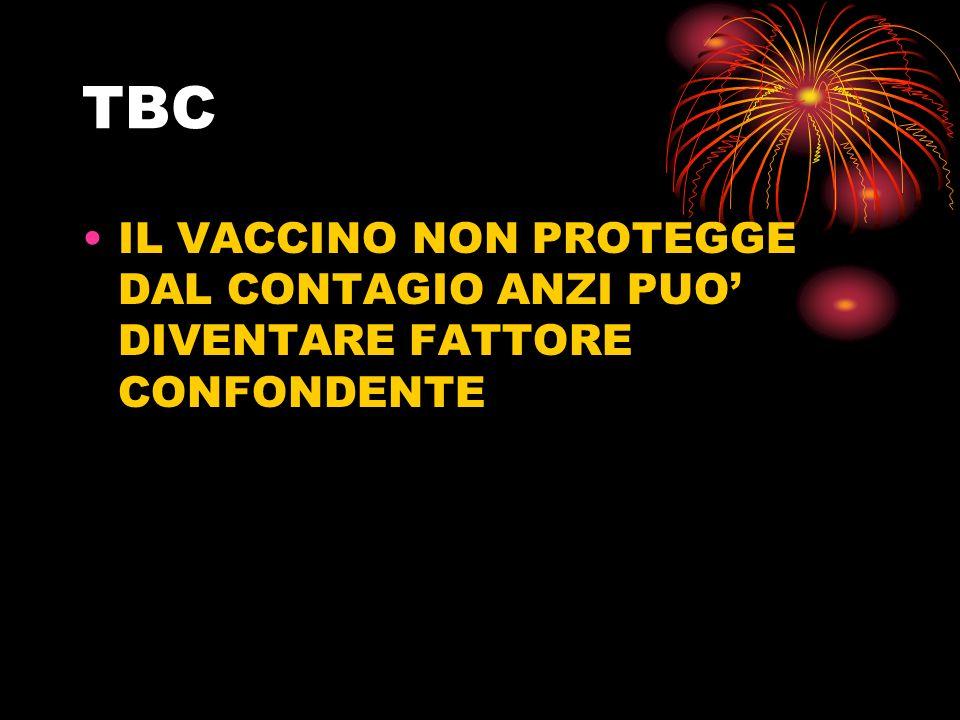 TBC IL VACCINO NON PROTEGGE DAL CONTAGIO ANZI PUO' DIVENTARE FATTORE CONFONDENTE
