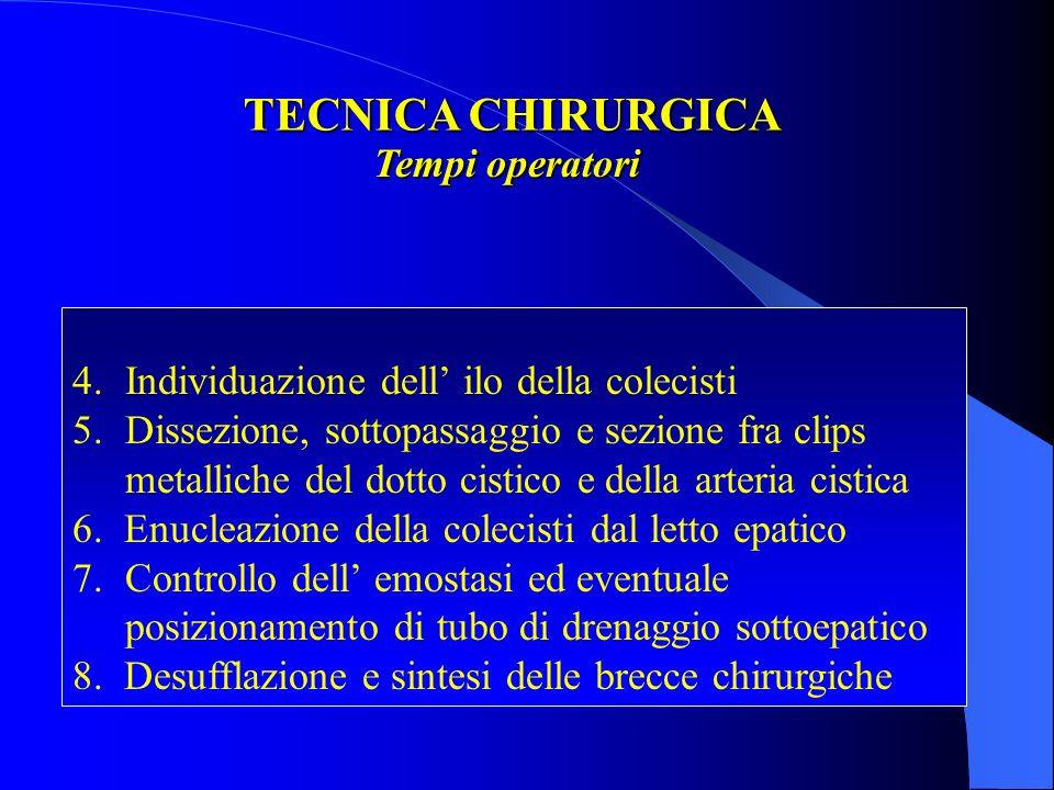 TECNICA CHIRURGICA Tempi operatori