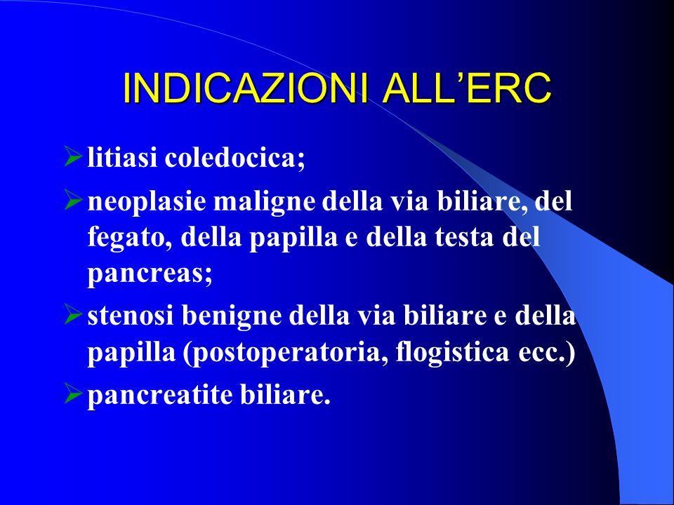 INDICAZIONI ALL'ERC litiasi coledocica;