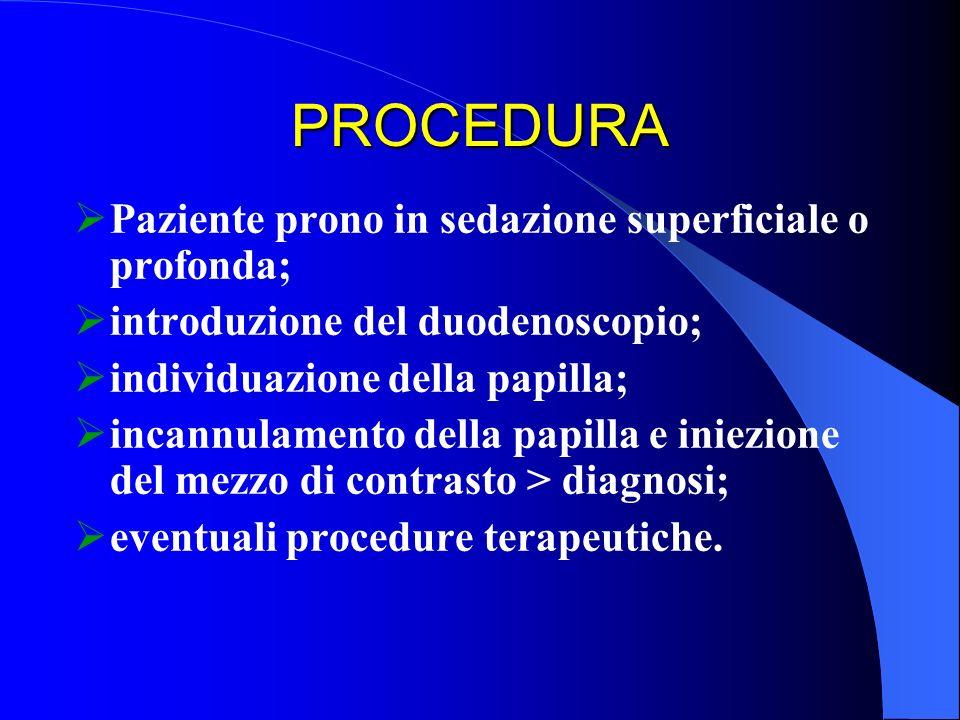 PROCEDURA Paziente prono in sedazione superficiale o profonda;