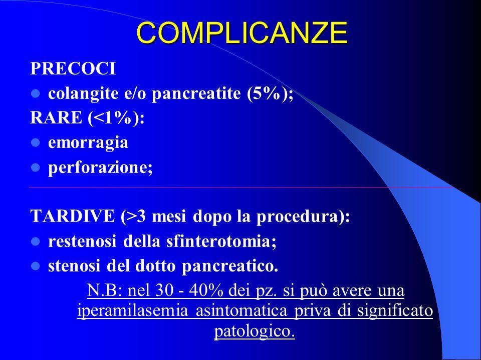 COMPLICANZE PRECOCI colangite e/o pancreatite (5%); RARE (<1%):