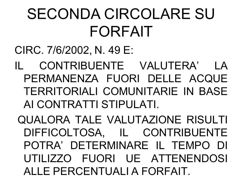 SECONDA CIRCOLARE SU FORFAIT