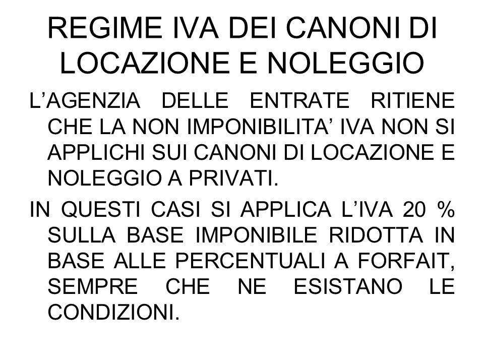 REGIME IVA DEI CANONI DI LOCAZIONE E NOLEGGIO