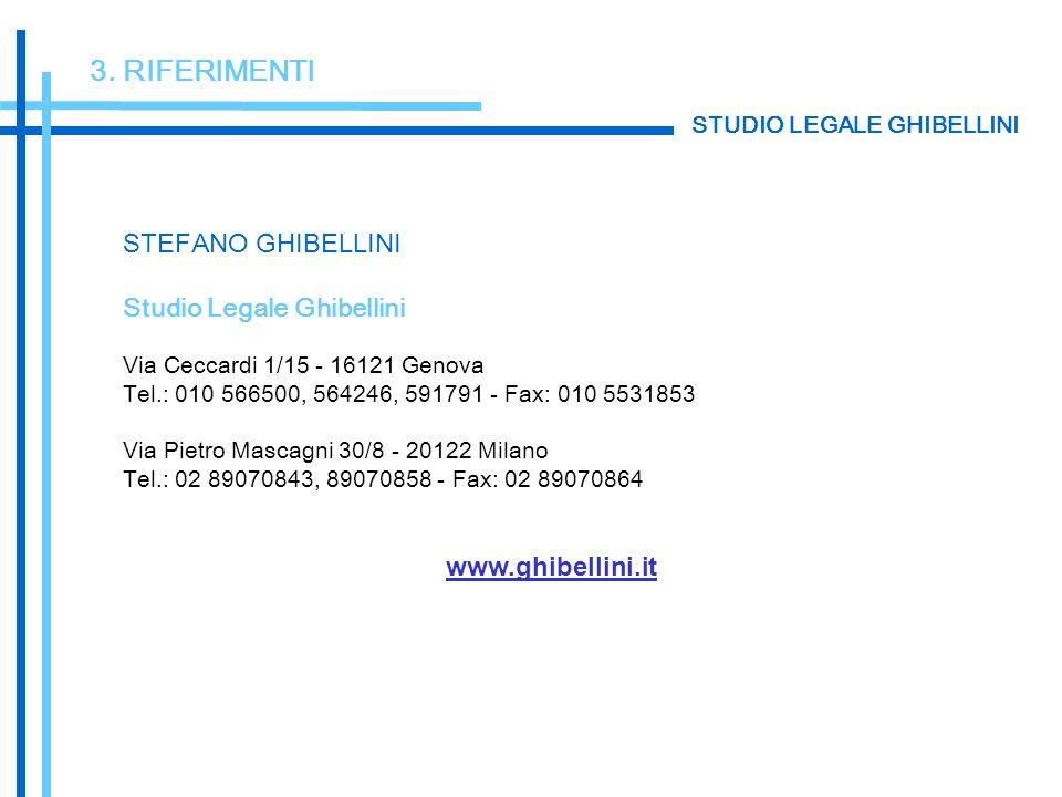3. RIFERIMENTI STEFANO GHIBELLINI Studio Legale Ghibellini