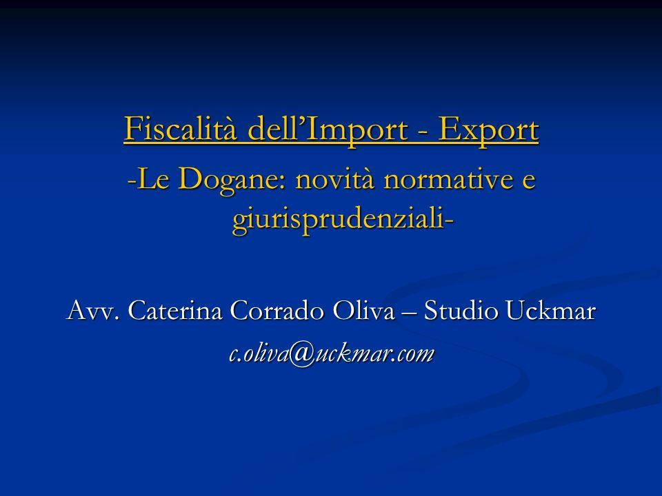 Fiscalità dell'Import - Export