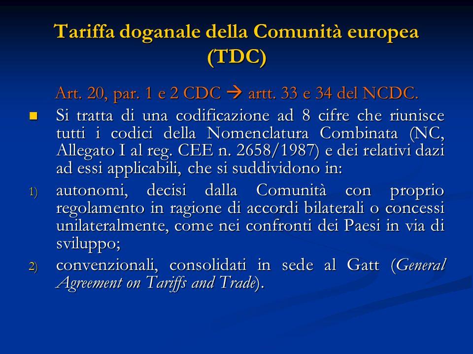 Tariffa doganale della Comunità europea (TDC)