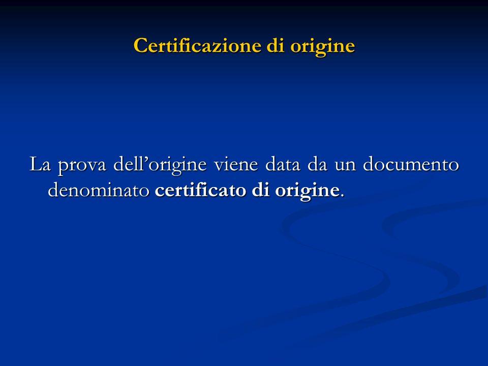 Certificazione di origine