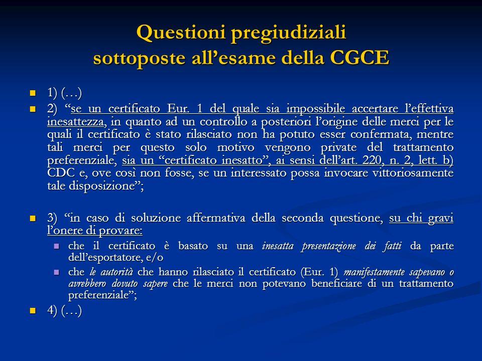 Questioni pregiudiziali sottoposte all'esame della CGCE