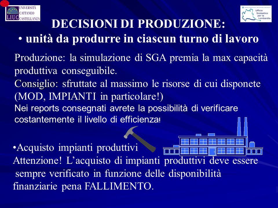 DECISIONI DI PRODUZIONE: unità da produrre in ciascun turno di lavoro
