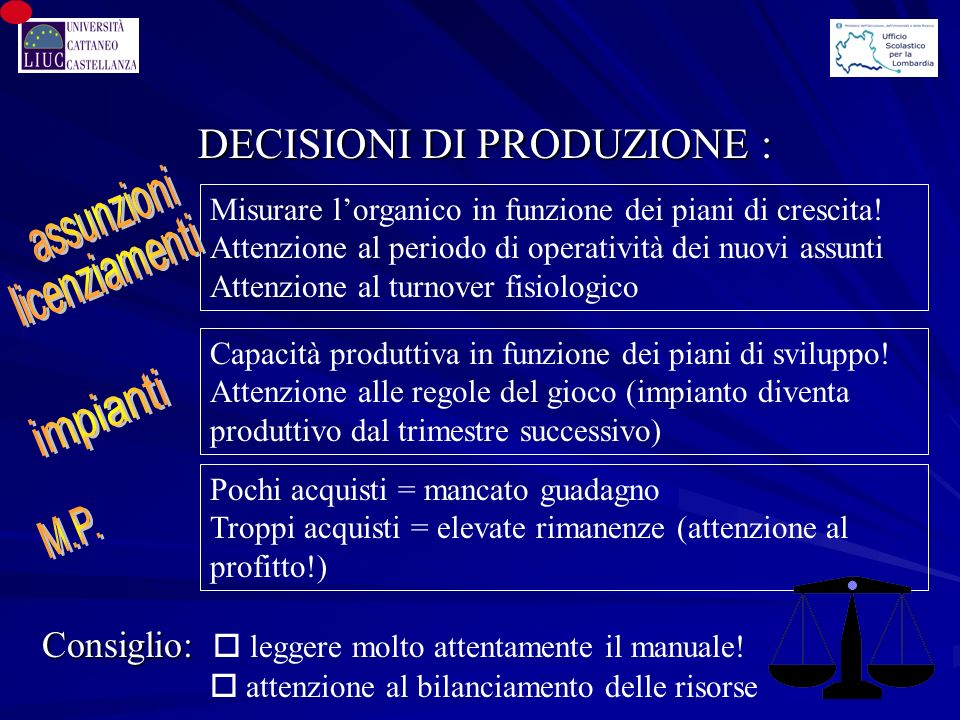 DECISIONI DI PRODUZIONE :