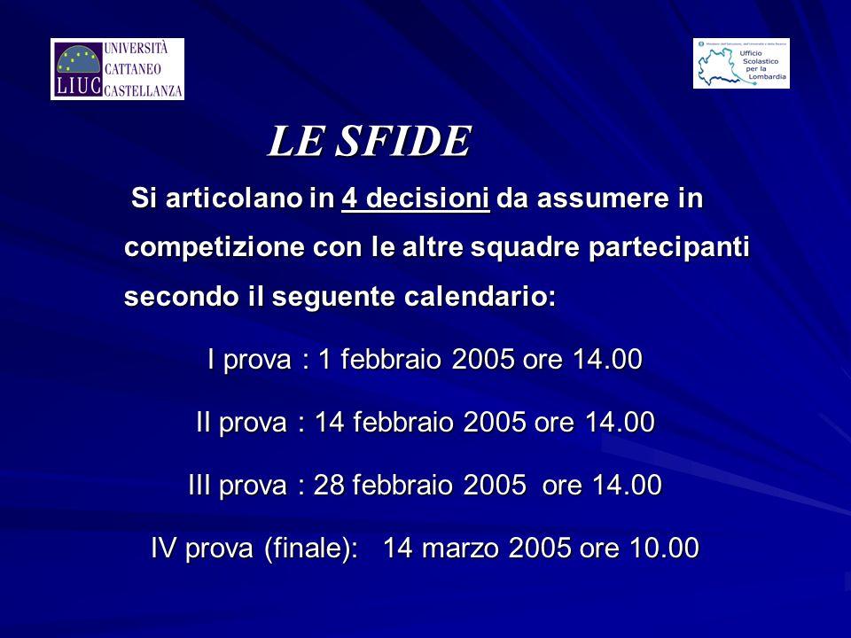 LE SFIDE Si articolano in 4 decisioni da assumere in competizione con le altre squadre partecipanti secondo il seguente calendario: