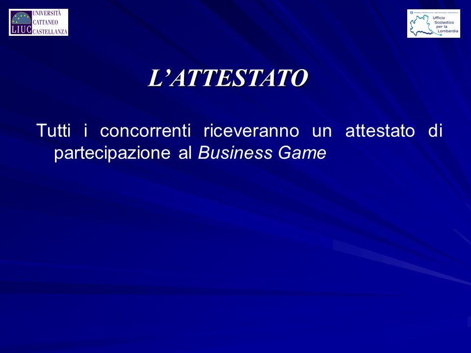 L'ATTESTATO Tutti i concorrenti riceveranno un attestato di partecipazione al Business Game