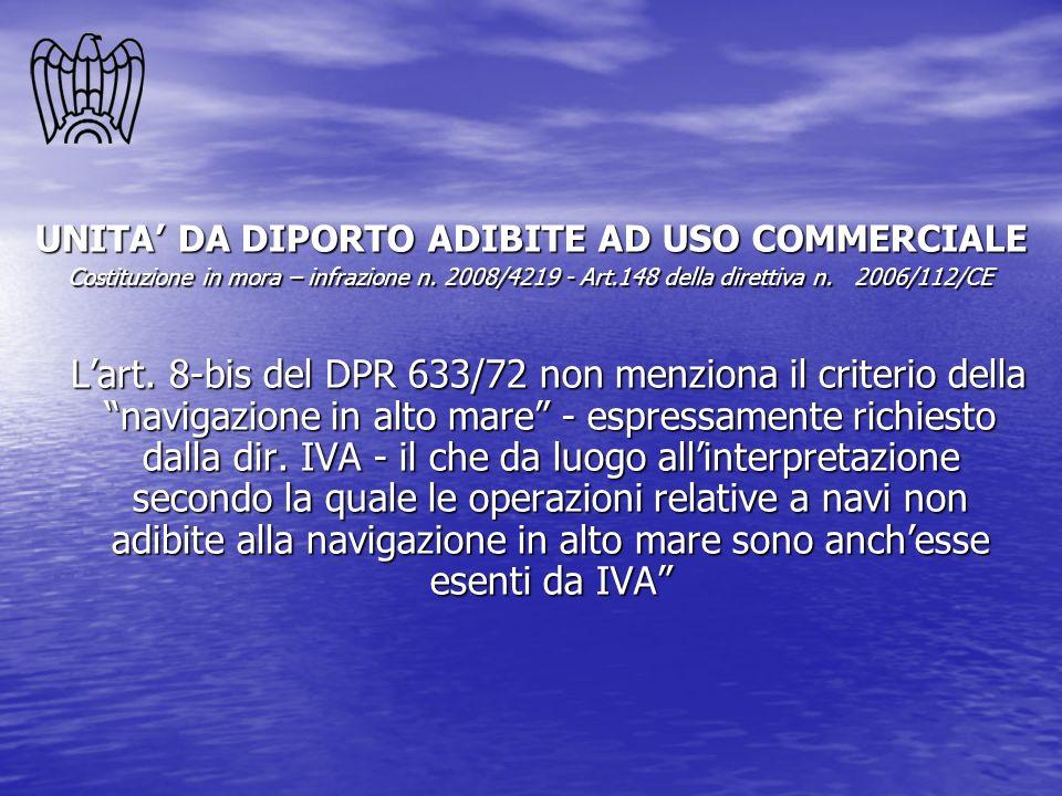 UNITA' DA DIPORTO ADIBITE AD USO COMMERCIALE