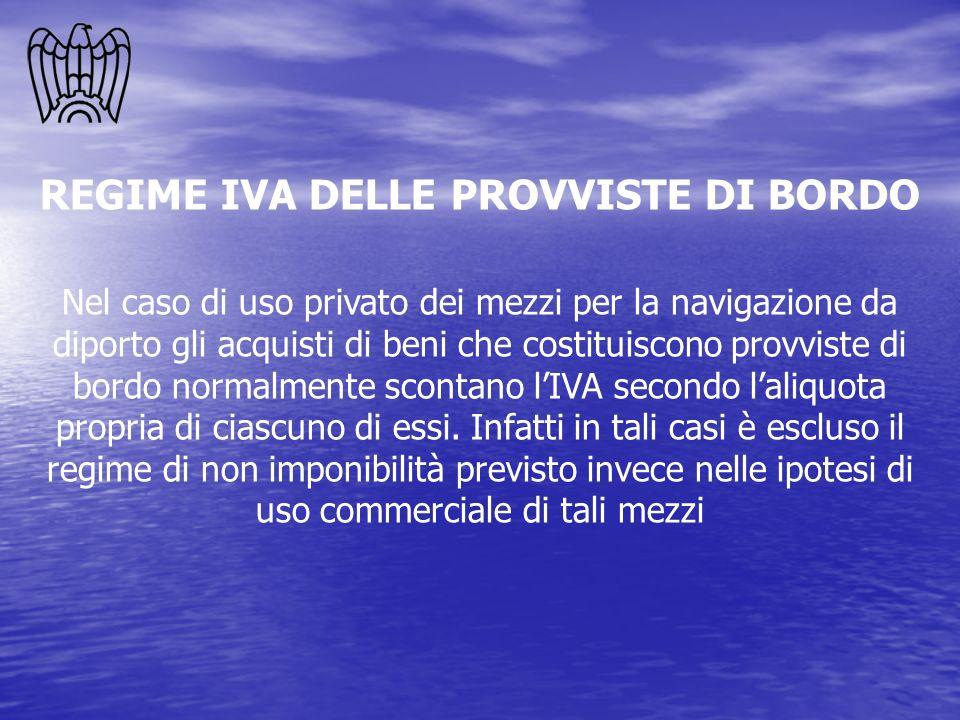 REGIME IVA DELLE PROVVISTE DI BORDO