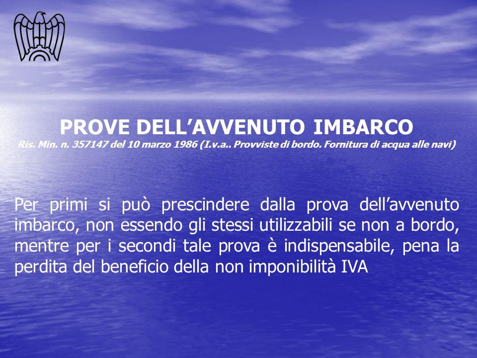 PROVE DELL'AVVENUTO IMBARCO