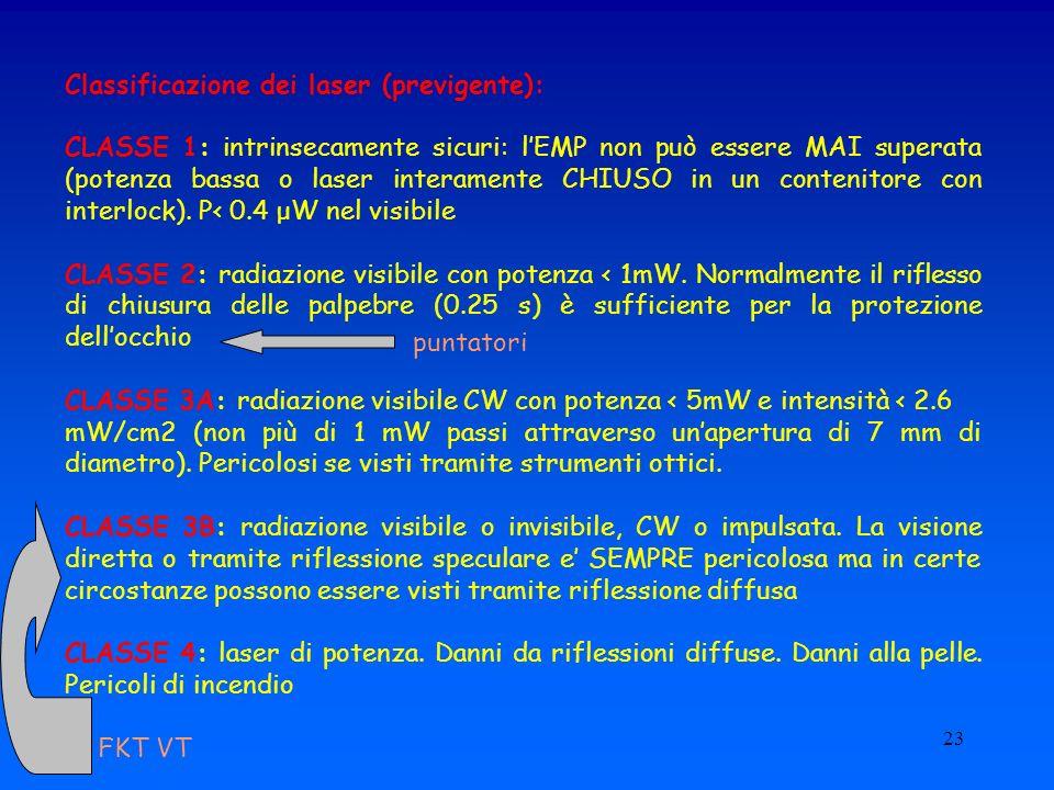 Classificazione dei laser (previgente):