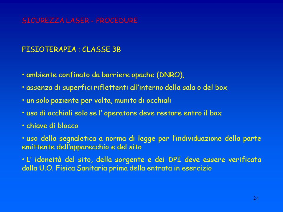 SICUREZZA LASER - PROCEDURE