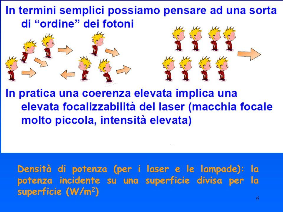 Densità di potenza (per i laser e le lampade): la potenza incidente su una superficie divisa per la superficie (W/m2)