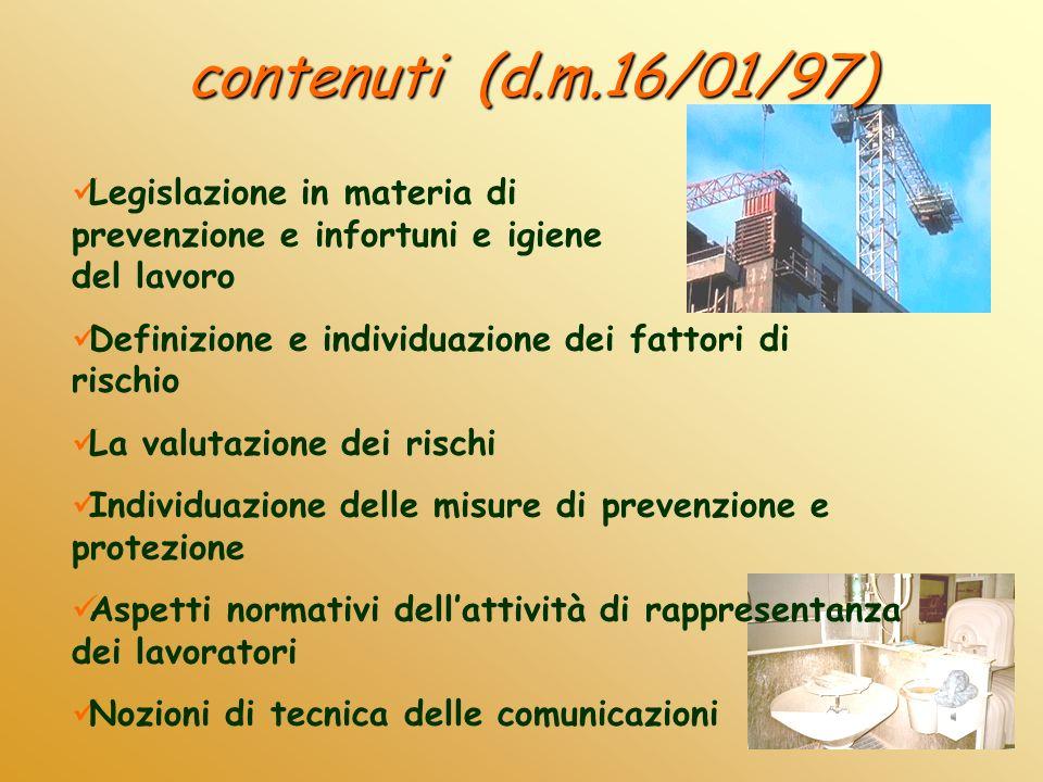 contenuti (d.m.16/01/97) Legislazione in materia di prevenzione e infortuni e igiene del lavoro.
