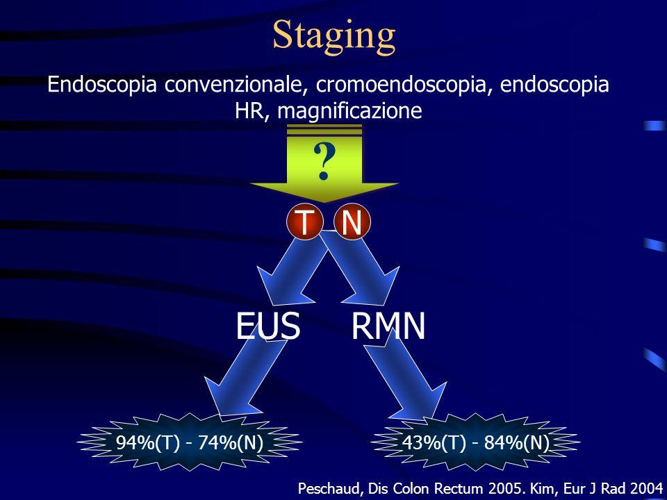 Staging Endoscopia convenzionale, cromoendoscopia, endoscopia HR, magnificazione. T. N. EUS. RMN.