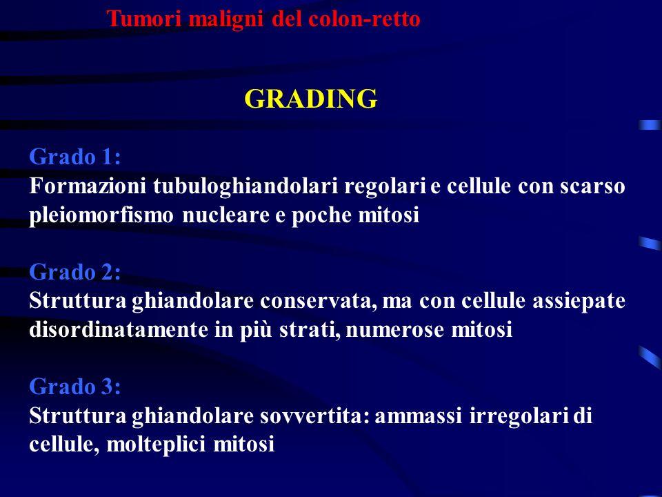 GRADING Tumori maligni del colon-retto Grado 1: