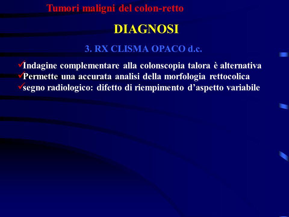DIAGNOSI Tumori maligni del colon-retto 3. RX CLISMA OPACO d.c.