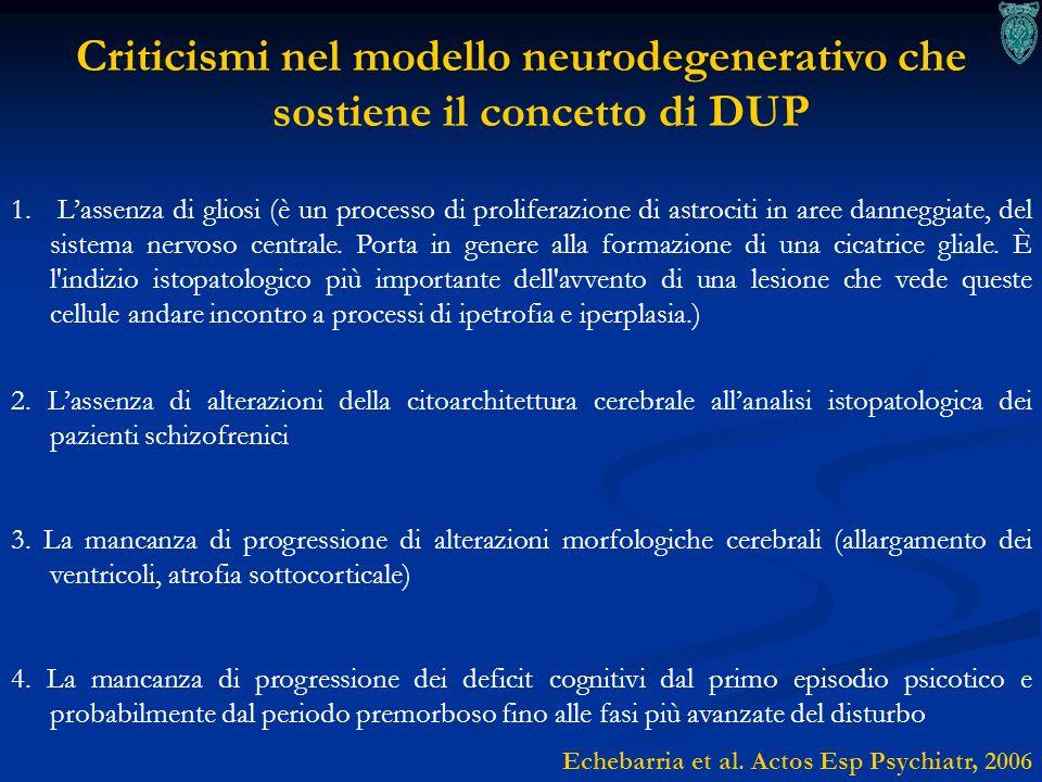 Criticismi nel modello neurodegenerativo che sostiene il concetto di DUP