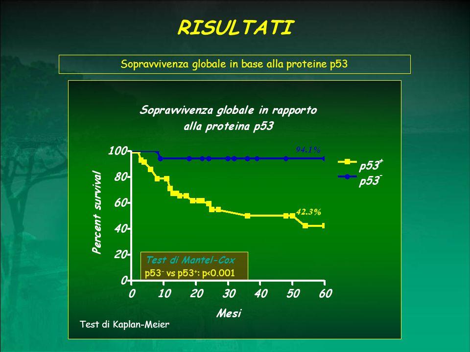Sopravvivenza globale in base alla proteine p53