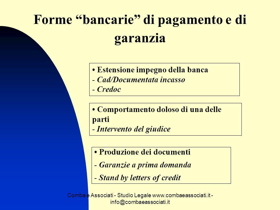 Forme bancarie di pagamento e di garanzia