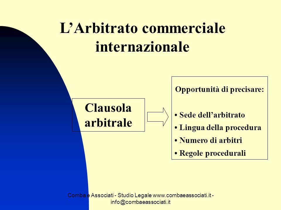 L'Arbitrato commerciale internazionale Opportunità di precisare: