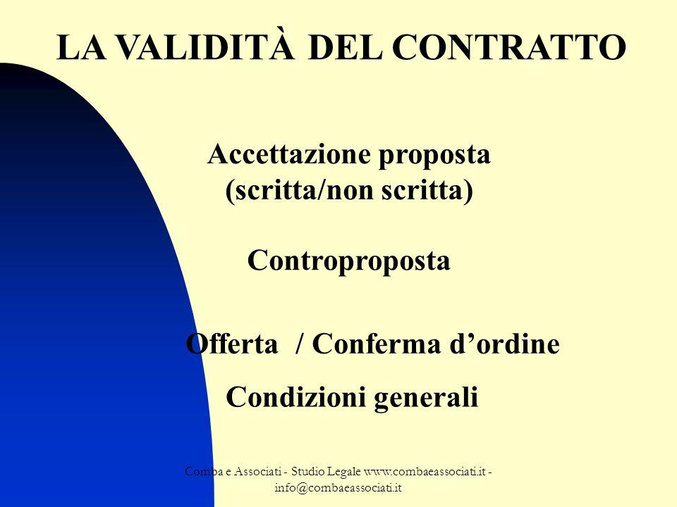 LA VALIDITÀ DEL CONTRATTO Accettazione proposta (scritta/non scritta)