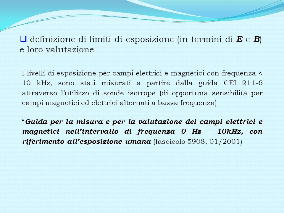 definizione di limiti di esposizione (in termini di E e B) e loro valutazione
