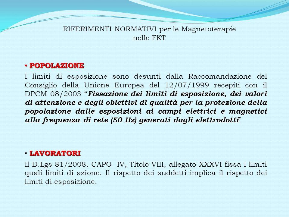 RIFERIMENTI NORMATIVI per le Magnetoterapie nelle FKT