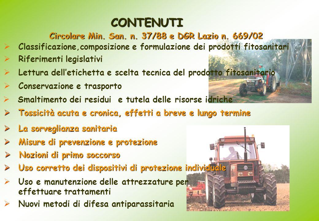 Circolare Min. San. n. 37/88 e DGR Lazio n. 669/02