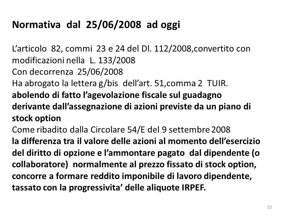 Normativa dal 25/06/2008 ad oggi
