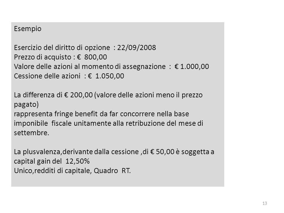 EsempioEsercizio del diritto di opzione : 22/09/2008. Prezzo di acquisto : € 800,00. Valore delle azioni al momento di assegnazione : € 1.000,00.