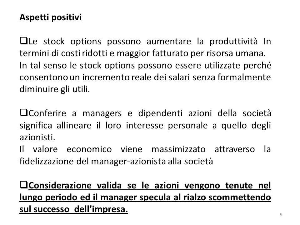 Aspetti positivi Le stock options possono aumentare la produttività In termini di costi ridotti e maggior fatturato per risorsa umana.