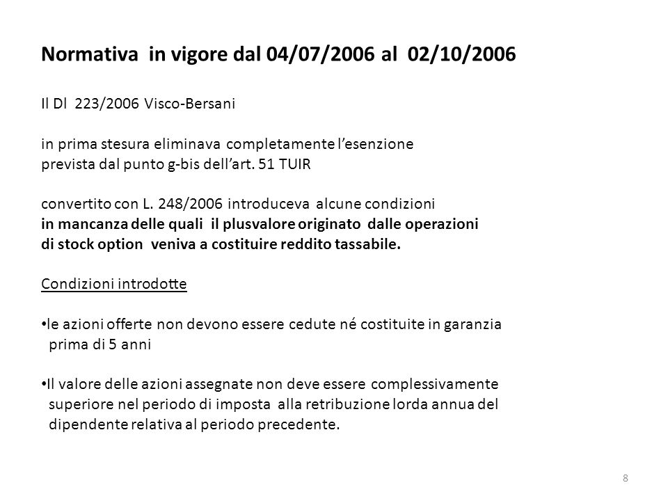 Normativa in vigore dal 04/07/2006 al 02/10/2006