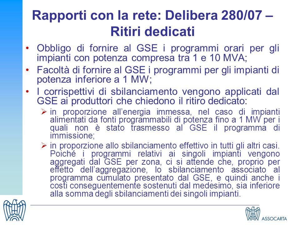 Rapporti con la rete: Delibera 280/07 – Ritiri dedicati