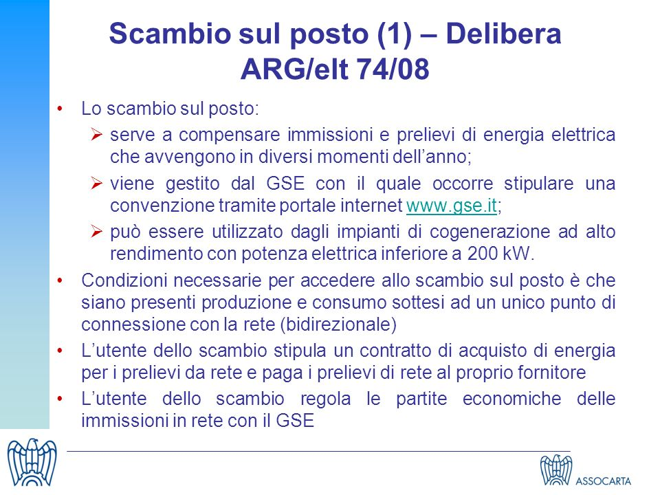 Scambio sul posto (1) – Delibera ARG/elt 74/08